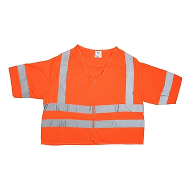 Mutual Industries Gann ANSI Class 3 Solid Durable Flame Retardant Safety Vest, Orange, 4XL