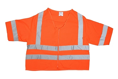 Mutual Industries Gann ANSI Class 3 Solid Durable Flame Retardant Safety Vest, Orange, Medium