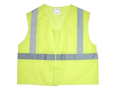 Mutual Industries Gann ANSI Class 2 Mesh Non Durable Flame Retardant Safety Vest, Lime, Large