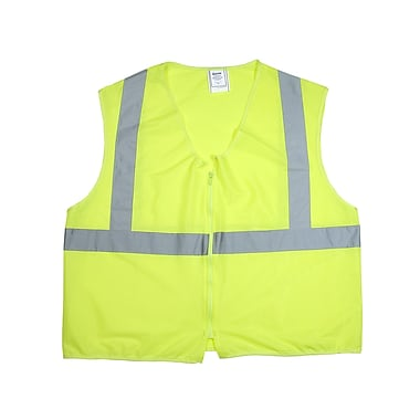 Mutual Industries Gann ANSI Class 2 Solid Non Durable Flame Retardant Safety Vest, Lime, Large