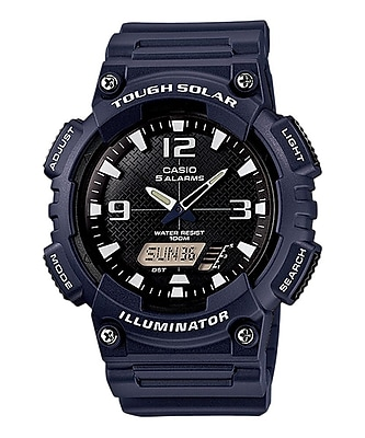 Casio® AQS810W Solar Analog/Digital Wrist Watch, Navy/White