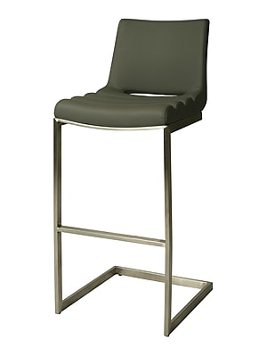 Pastel Furniture Emily Padded Leatherette Bar Stool, PU Gray