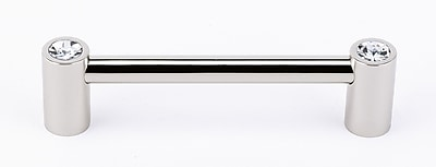 Alno Swarovski Crystal 4'' Center Bar Pull; Polished Nickel