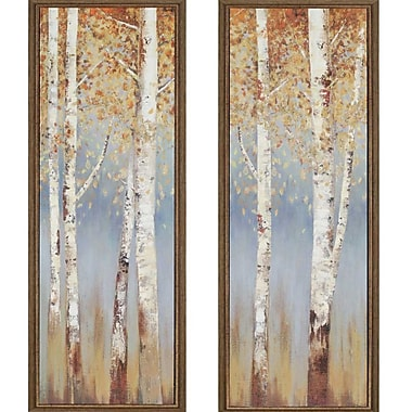Paragon Birch Trees by Pearce 2 Piece Framed Painting Print Plaque Set (Set of 2)