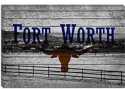 iCanvas Flags Fort Worth, Texas - Ranch Grunge Graphic Art on Canvas; 26'' H x 40'' W x 0.75'' D