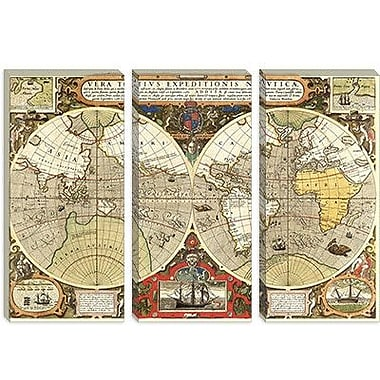 iCanvas Historical Map of the World (1595) Graphic Art on Canvas; 8'' H x 12'' W x 0.75'' D