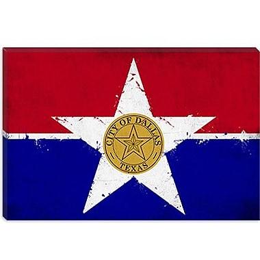 iCanvas Dallas, Texas Flag - Grunge Painting Print on Canvas; 12'' H x 18'' W x 1.5'' D