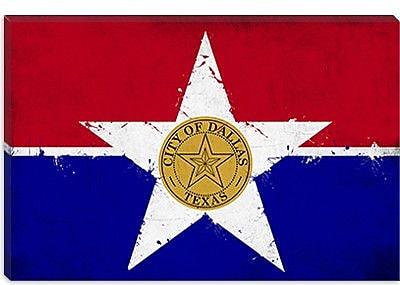 iCanvas Dallas, Texas Flag - Grunge Painting Print on Canvas; 12'' H x 18'' W x 0.75'' D