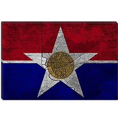 iCanvas Dallas, Texas Flag - Grunge Vintage Map Graphic Art on Canvas; 26'' H x 40'' W x 1.5'' D