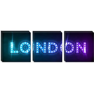 iCanvas 'London' by Michael Tompsett Textual Art on Canvas; 12'' H x 36'' W x 0.75'' D