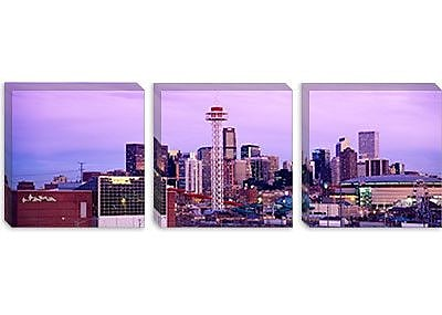 iCanvas Panoramic Building Lit up at Dusk, Denver, Colorado Photographic Print on Canvas