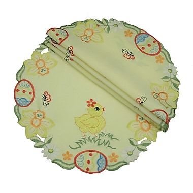Xia Home Fashions Spring Baby Chicks Round Doily (Set of 4); 16''