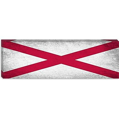 iCanvas Alabama Flag, Grunge Panoramic Graphic Art on Canvas; 12'' H x 36'' W x 0.75'' D