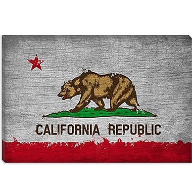 iCanvas California Flag, Grunge Painted Vintage Advertisement on Canvas; 26'' H x 40'' W x 1.5'' D