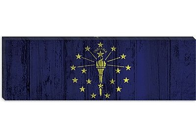 iCanvas Indiana Flag, Panoramic Graphic Art on Canvas; 12'' H x 36'' W x 0.75'' D