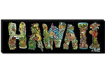 iCanvas 'Hawaii Alphabet' by David Russo Painting Print on Canvas; 12'' H x 36'' W x 1.5'' D