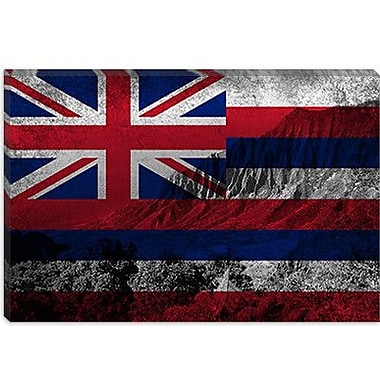 iCanvas Hawaii Flag, Grunge Beach Kalalau Valley Graphic Art on Canvas; 12'' H x 18'' W x 1.5'' D