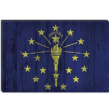 iCanvas Indiana Flag, w/ Splatters Graphic Art on Canvas; 26'' H x 40'' W x 1.5'' D