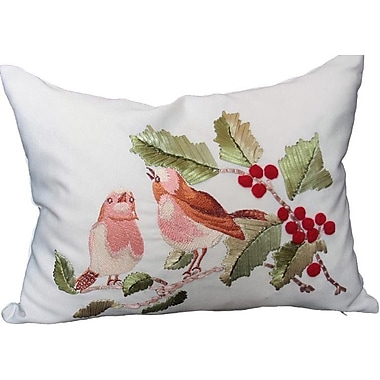 Xia Home Fashions Holiday Birds on Holly Lumbar Pillow