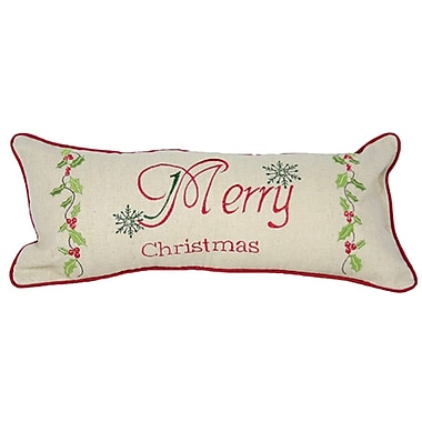 Xia Home Fashions Holiday Merry Christmas w/ Holly Bolster Pillow