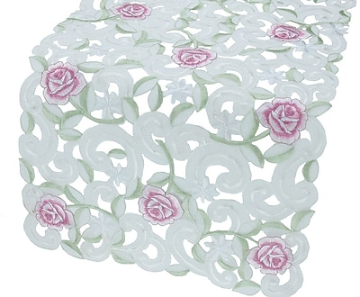 Xia Home Fashions Dainty Rose Table Runner; 12'' x 48''
