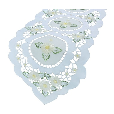 Xia Home Fashions Elegant Daisy Embroidered Cutwork Table Runner; 15'' x 72''