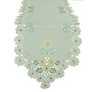 Xia Home Fashions Emerald Daisy Embroidered Cutwork Table Runner; 15'' x 72''