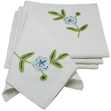 Xia Home Fashions Flora Linens Napkin (Set of 4); Blue