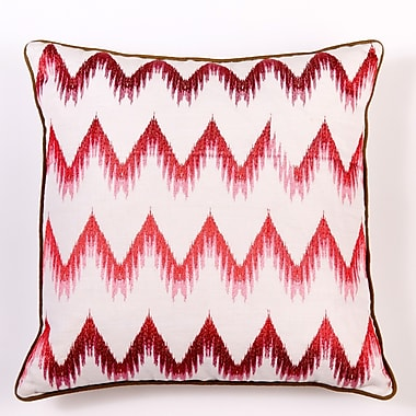 Filling Spaces Ikat and Suzani All Flame Stitch Linen Pillow Cover; Pink
