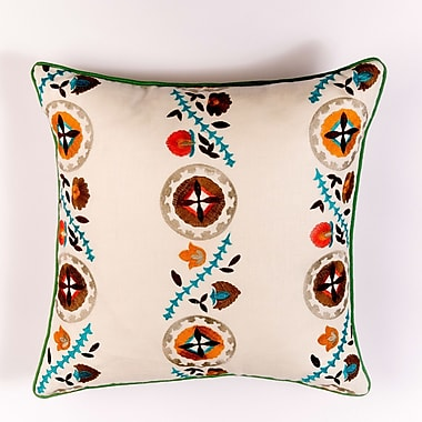 Filling Spaces Ikat and Suzani All Kalamkari Linen Pillow Cover; Blue