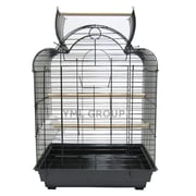 YML Open Scallop Play Top Bird Cage; White Stand