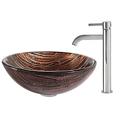 Kraus Gaia Glass Circular Vessel Bathroom Sink w/ Faucet; Chrome