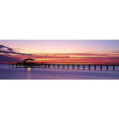 iCanvas Panoramic Sunset Mobile Pier Alabama Photographic Print on Wrapped Canvas