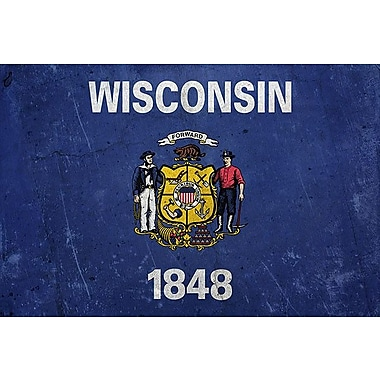 iCanvas Wisconsin Flag, Lomo Film Grunge Graphic Art on Wrapped Canvas; 40'' H x 60'' W x 1.5'' D