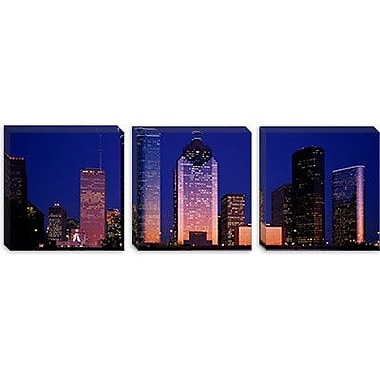 iCanvas Panoramic Skyscrapers Lit up at Night, Houston, Texas Photographic Print on Canvas