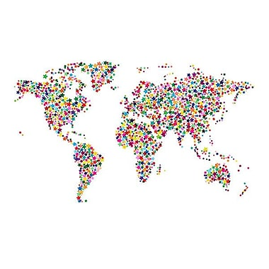 iCanvas ''Stars World Map II'' by Michael Thompsett Graphic Art on Wrapped Canvas