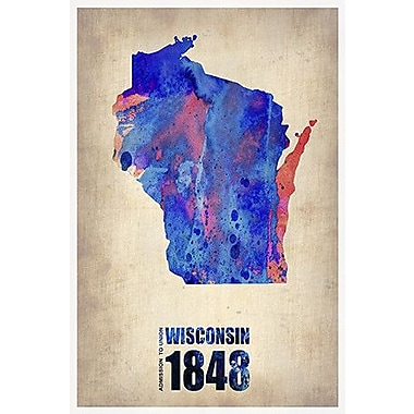 iCanvas ''Wisconsin Watercolor Map'' Canvas Wall Art by Naxart; 40'' H x 26'' W x 0.75'' D