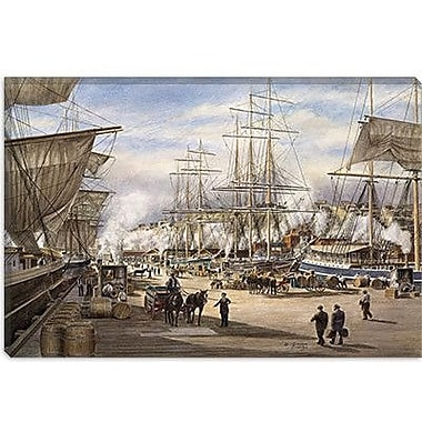 iCanvas ''The Green St. Wharf'' by Stanton Manolakas Painting Print on Wrapped Canvas