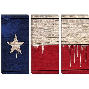 iCanvas Flags Texas Wood Planks w/ Paint Drips Graphic Art on Wrapped Canvas
