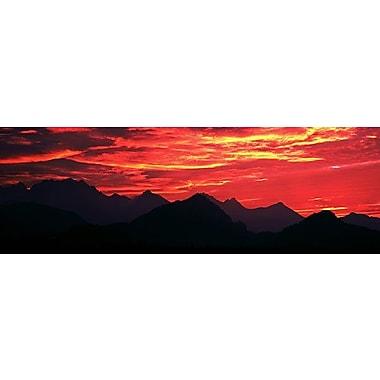 iCanvas Panoramic Sundown Austrian Mts South Bavaria Germany Photographic Print on Wrapped Canvas