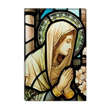 iCanvas Christian Virgin Marry Stained Glass Painting Print on Canvas; 12'' H x 8'' W x 0.75'' D