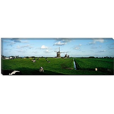 iCanvas Panoramic Windmills, Netherlands Photographic Print on Canvas; 30'' H x 90'' W x 1.5'' D