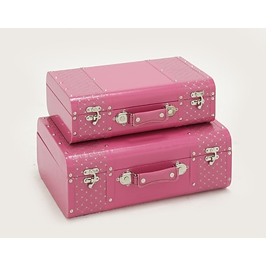 Cole & Grey Classic Wood Vinyl Case Set; Pink