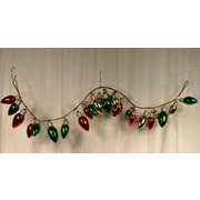 Queens of Christmas Light Bulb Garland; Green, Red and Gold
