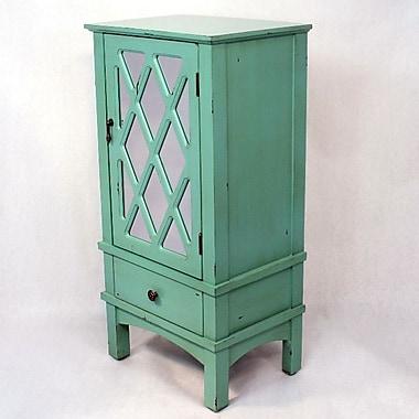 Heather Ann Wooden Accent Cabinet w/ Mirror Insert; Tourquoise
