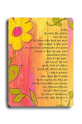 Artehouse LLC Listen to What the Children Say by Lisa Weedn Textual Art Plaque