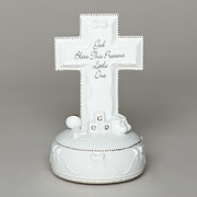 Roman, Inc. Musical God Bless Porc Cross Figurine
