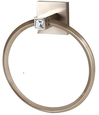 Alno Swarovski Crystal Wall Mounted Towel Ring; Satin Nickel