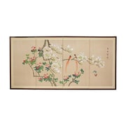 Oriental Furniture 24'' Love Birds 4 Panel Room Divider