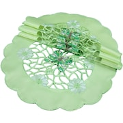 Xia Home Fashions Emerald Mariposa Embroidered Cutwork Round Doily (Set of 4)